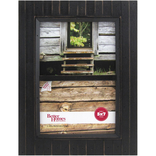 Better Homes and Gardens Timbermound 2-Opening 5x7 Distressed Black Picture Frame