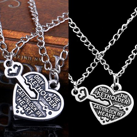 77fd22aaeb Directer - Directer 1 Pair Love Heart Key Pendant Necklace Best ...