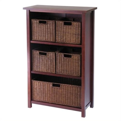 Winsome Milan 3 Shelf Storage Unit with 5 Wired Baskets in Antique Walnut