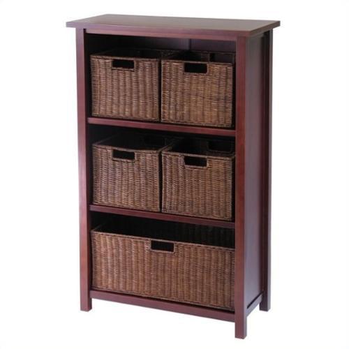 Winsome Milan 3 Shelf Storage Unit with 5 Wired Baskets in Antique Walnut