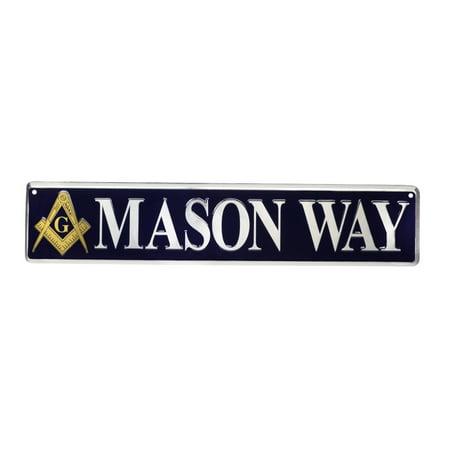 Mason Way Tin Street Sign Masonic Gift Freemason Garage Shop Bar Pub Wall Decor ()