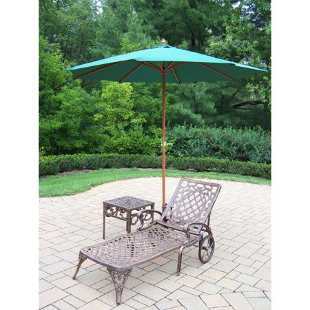 Oakland Living Mississippi Cast Aluminum Chaise Lounge with Side Table & Umbrella with Stand