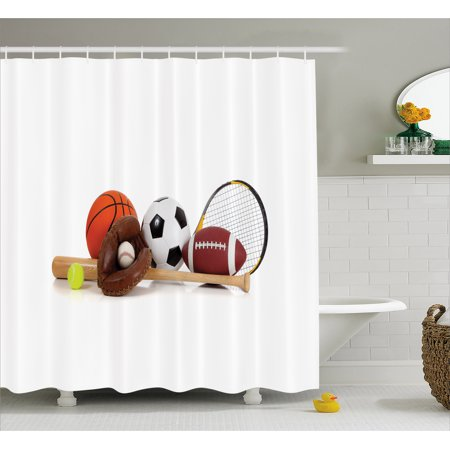 Youth Shower Curtain, Assorted Sports Equipment Different Balls Bat Tennis Racket Baseball Glove on White, Fabric Bathroom Set with Hooks, 69W X 70L Inches, Multicolor, by