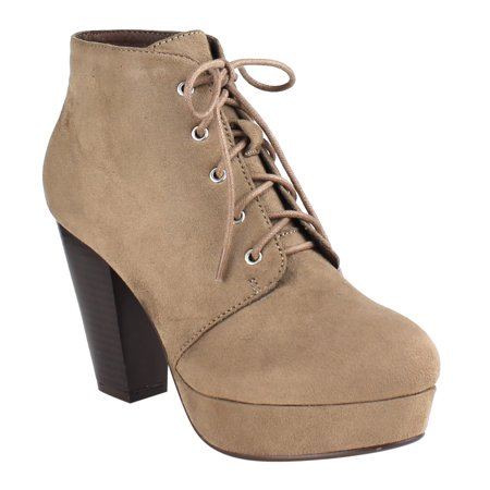 Beston Ei44 Womens Lace Up Stacked Chunky Heel Platform Ankle Bootie