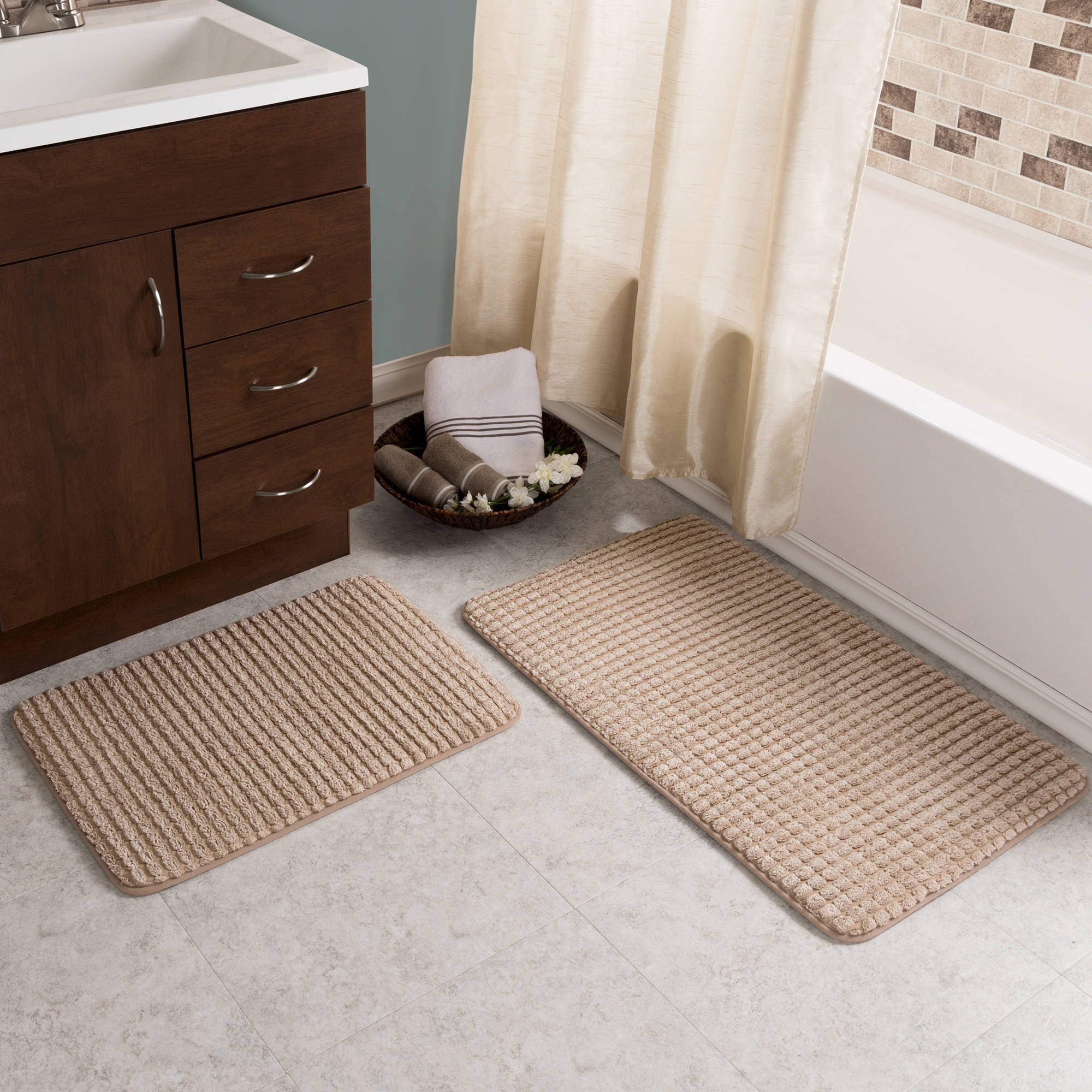 2 pc Memory Foam Bath Mat Set by Somerset Home - Woven Jacquard Fleece - Taupe