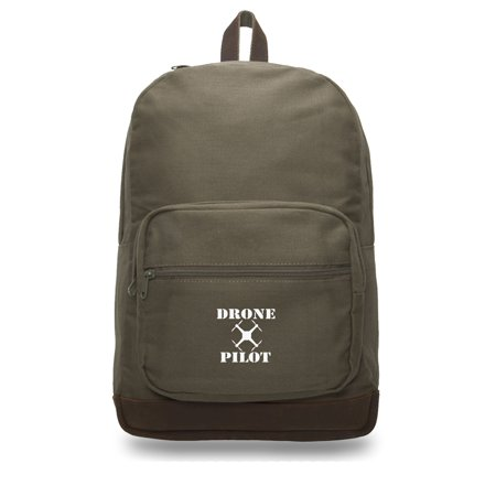 Drone Pilot Canvas Teardrop Backpack with Leather Bottom