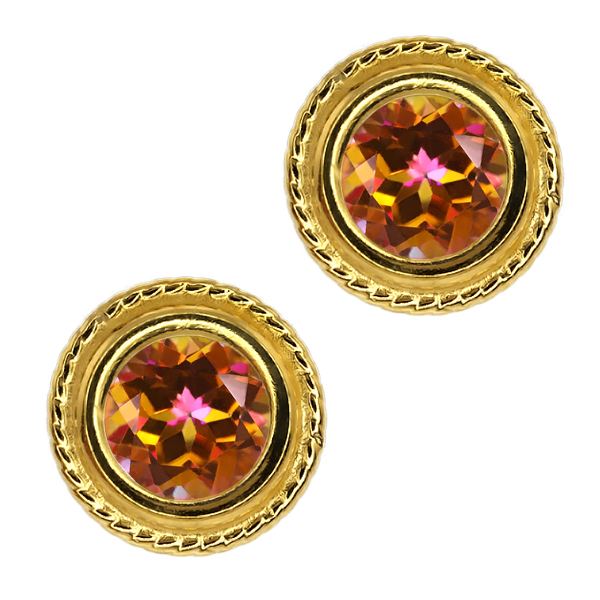1.90 Ct Round Ecstasy Mystic Topaz Gold Plated Silver bezel Stud Earrings 6mm