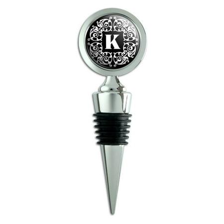 Letter K Initial Black White Scrolls Wine Bottle Stopper