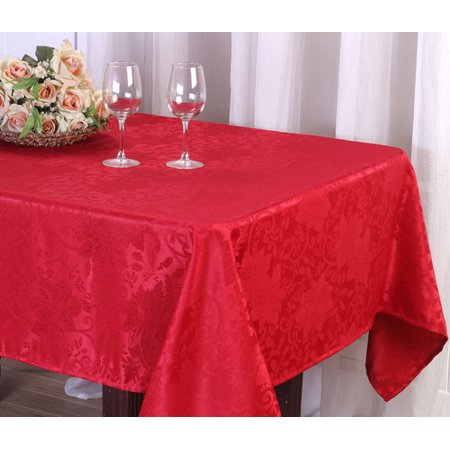 Holiday Christmas Red Jacquard Fabric Tablecloth 52x70 ()