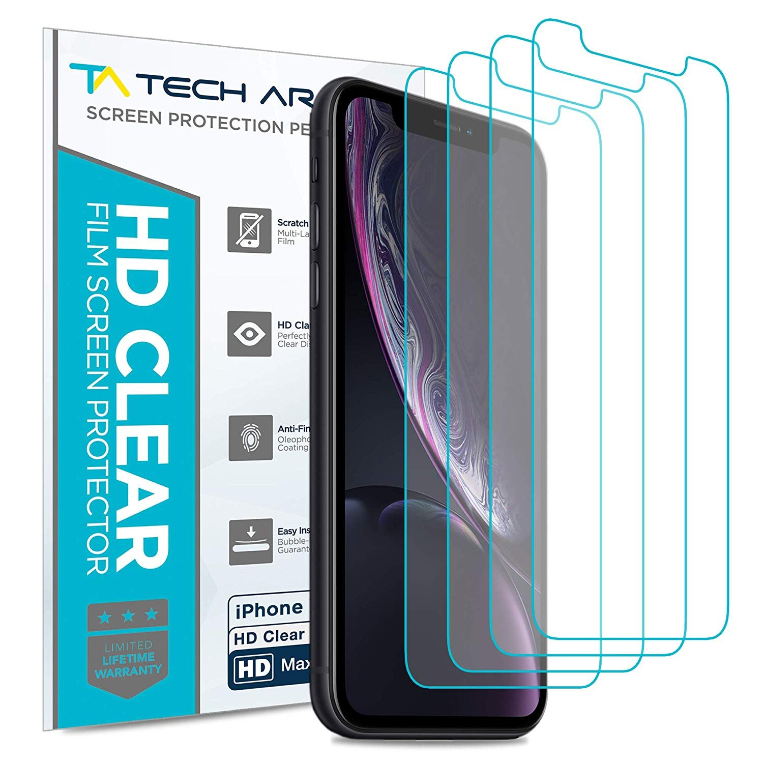 Tech Armor Apple iPhone Xr HD Clear Film Screen Protector [4-Pack] Case-Friendly, Scratch Resistant, Haptic Touch Accurate Designed for New 2018 Apple iPhone Xr