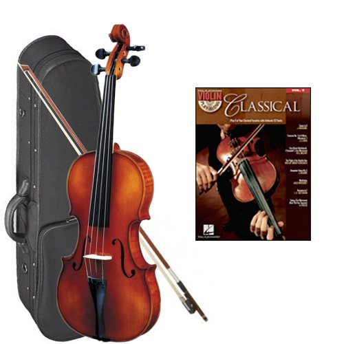 Strunal 260 Student Violin Classical Violin Play Along Pack - 1/4 Size European Violin w/Case & Play Along Book