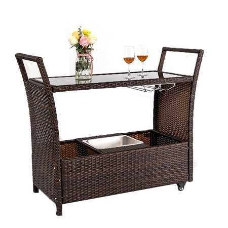 Zimtown Patio Outdoor Wicker Serving Bar Cart With Stainless Ice Bucket