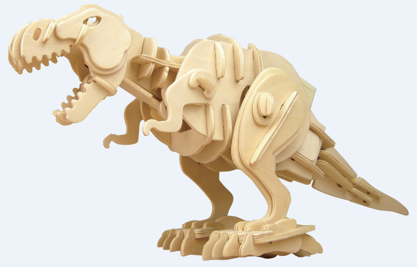T-Rex Dinosaur Sound Control Roaring and Biting Moving Large 3D Puzzle Woodcraft Kit by Mind Matters Toys