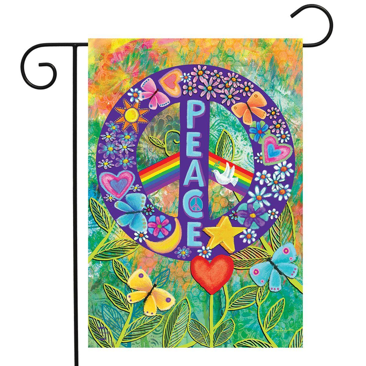 "Peace Floral Garden Flag Primitive Everday 12.5"" x 18"" Briarwood Lane"