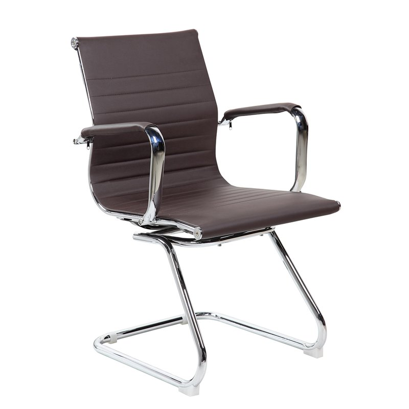 Techni Mobili Modern Office Visitor Chrome Chair with Arms. Chocolate