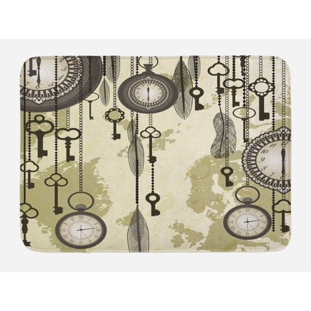 Antique Bath Mat, Old Days Design 20s Cultural Items and Tribal Feathers Changing Trends Theme, Non-Slip Plush Mat Bathroom Kitchen Laundry Room Decor, 29.5 X 17.5 Inches, Green Grey Cream, Ambesonne - 20s Themed Wedding