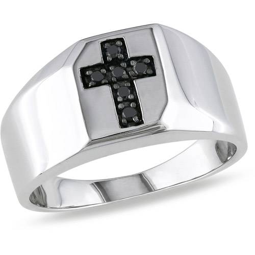 Men's Black Diamond Accent Sterling Silver Cross Ring