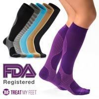 Compression Knee High Socks for Men & Women, Soft & Comfortable Men's Sport Socks - Graduated to Boost Circulation & Reduce Shin Splints, Mens Knee High Dress Socks or Support Socks for Men- L