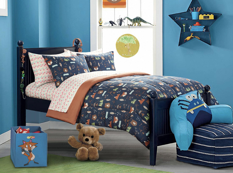 Mainstay Kids Safari Boy 4 Piece Toddler Bedding Set Multi Color Toddler Size Walmart Com Walmart Com