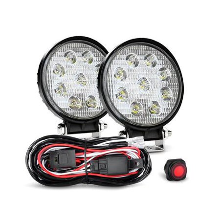 Nilight 2PCS 4.5 Inch 27W Led Light Bar Round Spot Driving Lamp Jeep Off Road Fog Lights with Off Road Wiring Harness, 2 Years Warranty ()