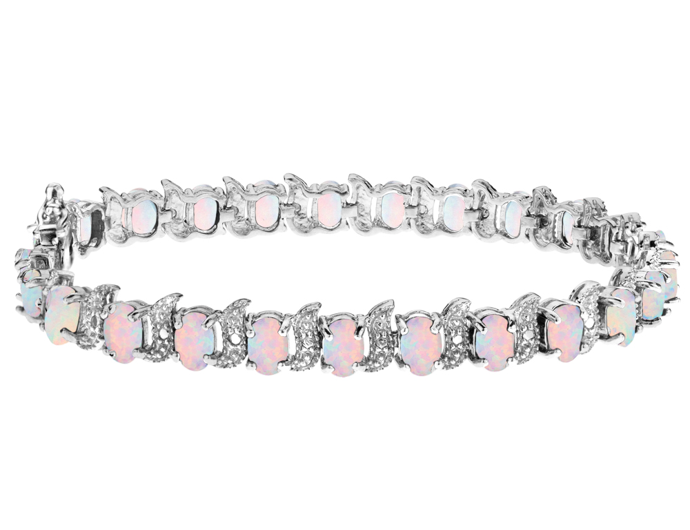 Created Opal Bracelet with Diamonds 6.0 Carat (ctw) in Sterling Silver by Gem And Harmony