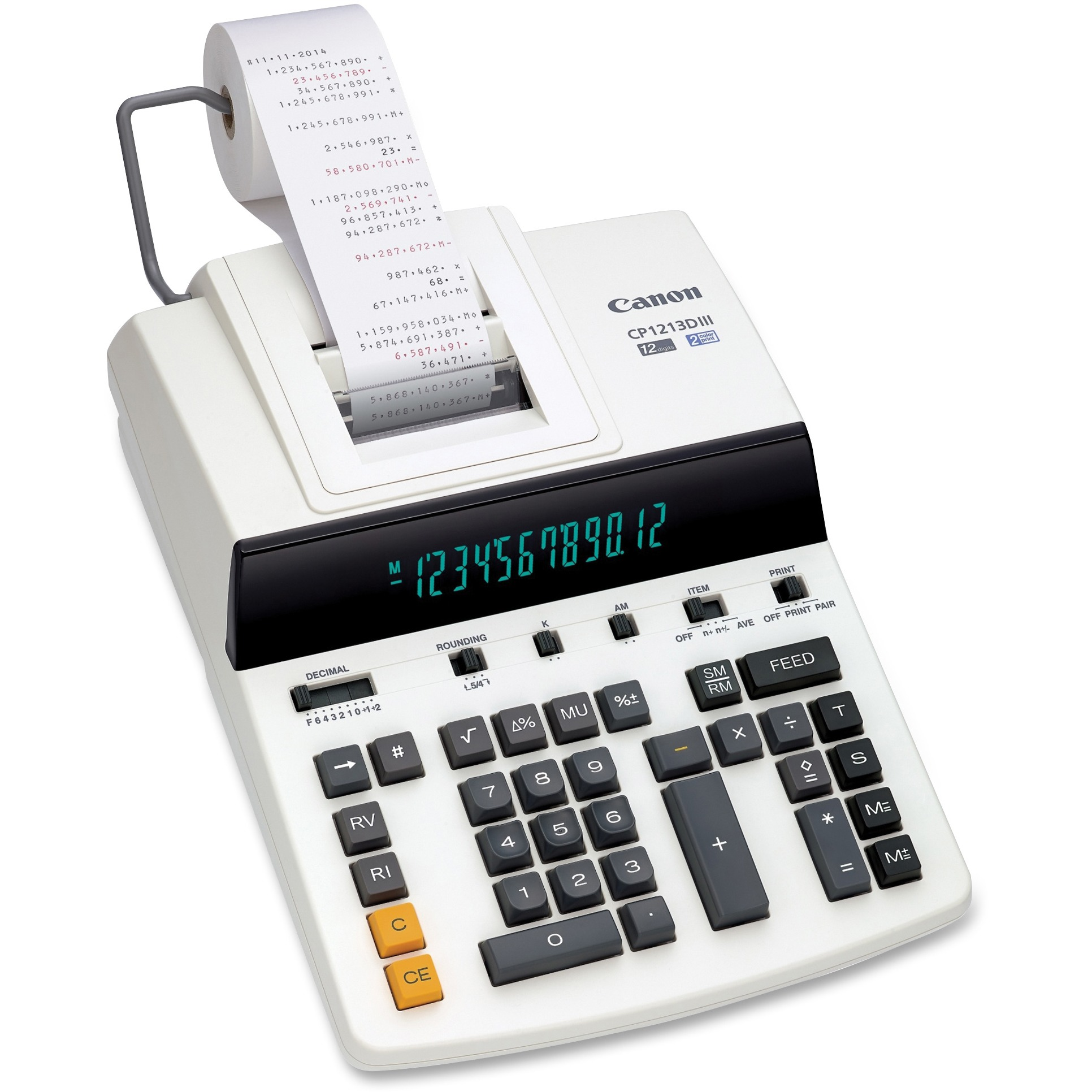 Canon CP1213DIII 12-Digit Heavy-Duty Commercial Desktop Printing Calculator, 4.8 L/Sec