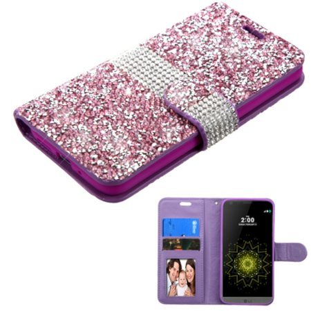 LG G5 Phone Case Wallet Leather Wallet Rhinestone Case with Card Slot & Photo Display by ASMYNA - Purple/Silver