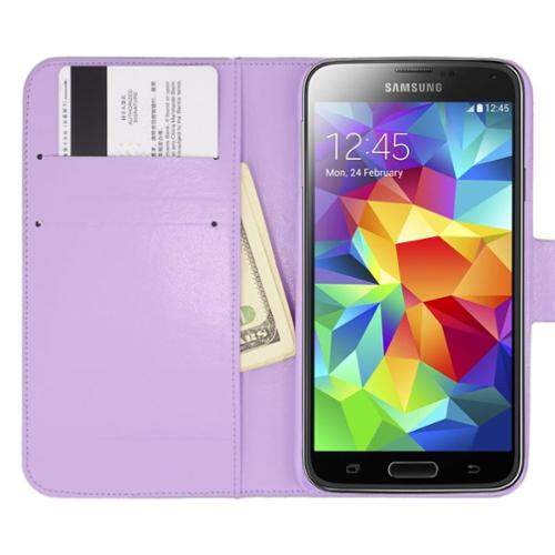 Insten Book-Style Leather Wallet Diamond Case with Card slot For Samsung Galaxy S5 - Purple