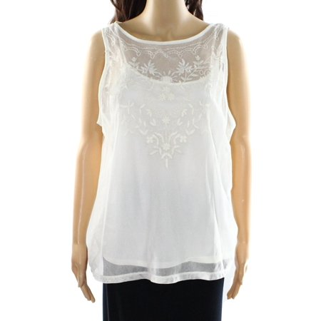 Lauren Ralph Lauren NEW White Ivory Womens XL Embroidered Lace Tank Top