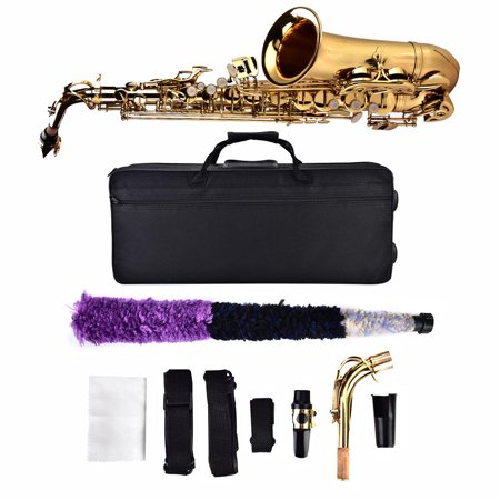 Fdit Alto Eb Sax Saxophone Set with Storage Case Mouthpiece Accessories Golden, Alto Saxphone, Eb Saxphone