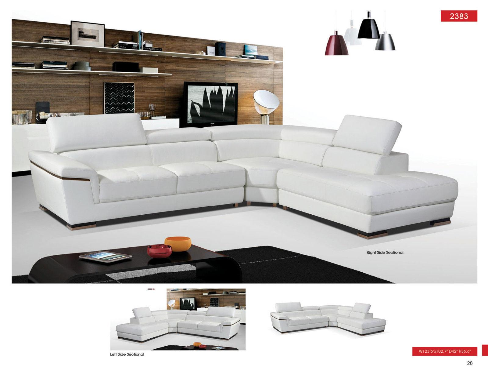 Swell Esf 2383 White Genuine Leather Sectional Sofa Right Hand Facing Contemporary Short Links Chair Design For Home Short Linksinfo