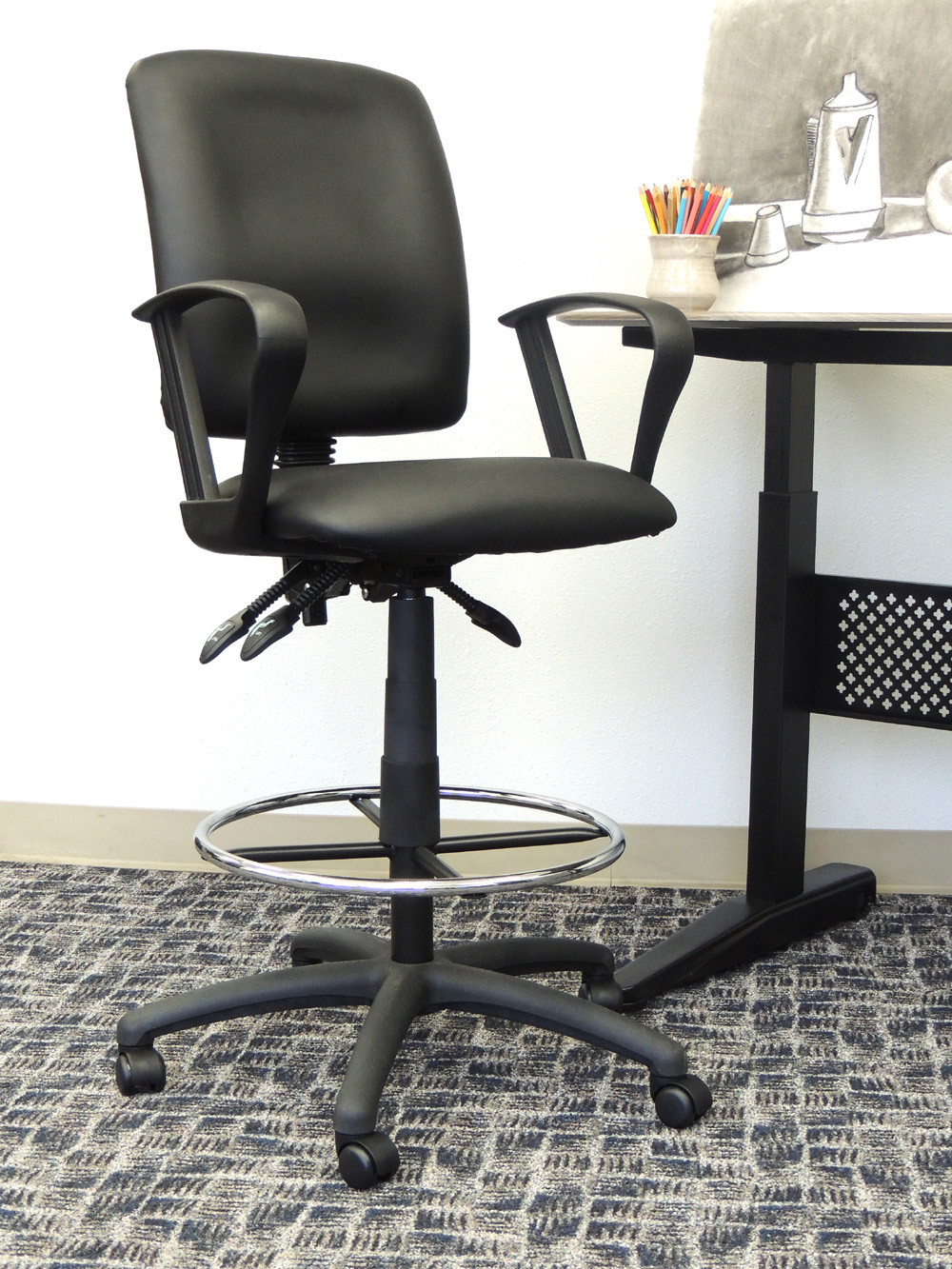 Boss Office Products Black Multifunctional Drafting Stool with Arms  sc 1 st  Walmart & Desk Stools islam-shia.org