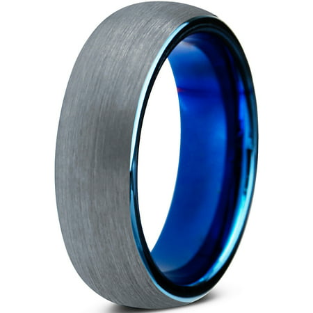 Charming Jewelers Tungsten Wedding Band Ring 6mm for Men Women Comfort Fit Blue Round Domed Brushed Lifetime