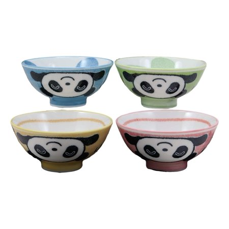 Ebros Made In Japan Whimsical Giant Panda In Pastel Colors Porcelain Bowls 4 Piece Pack For Kids And Adults Soups Cereal Appetizer Pasta Bowl Set Baby Pandas Green Red Blue