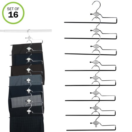 Evelots Swiveling Non Slip Rubber Coated Metal Stackable Pant Hangers, Set/16