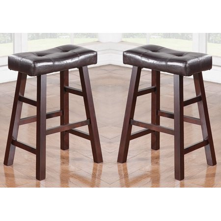 "Country Series Counter Stool - 24""H - in Dark Cherry Finish with Faux Leather, Set of 2"