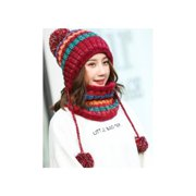 Horypt Outdoor Hat Bib Warm Neck Guard Fleece Lined Thickened Knitted Hat Bib Two-piece Color Assorted Wool Hat