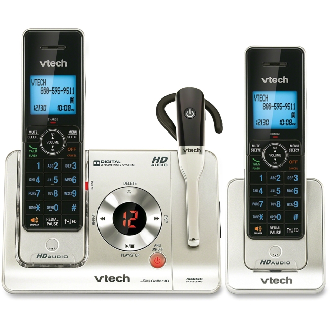 VTech LS6475-3 DECT 6.0 Expandable Cordless Phone with Answering System and DECT Cordless Headset, Silver with 2 Handset