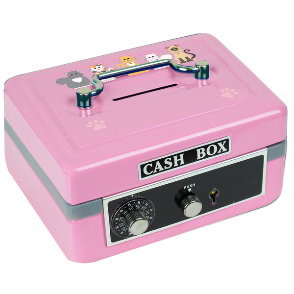 Personalized Pink Cats Cash Box