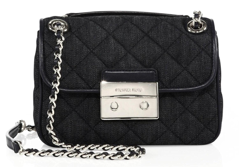 b6b5808b54098b ... best price michael kors sloan dark denim shoulder bag silver new bag  walmart 416af 8c441