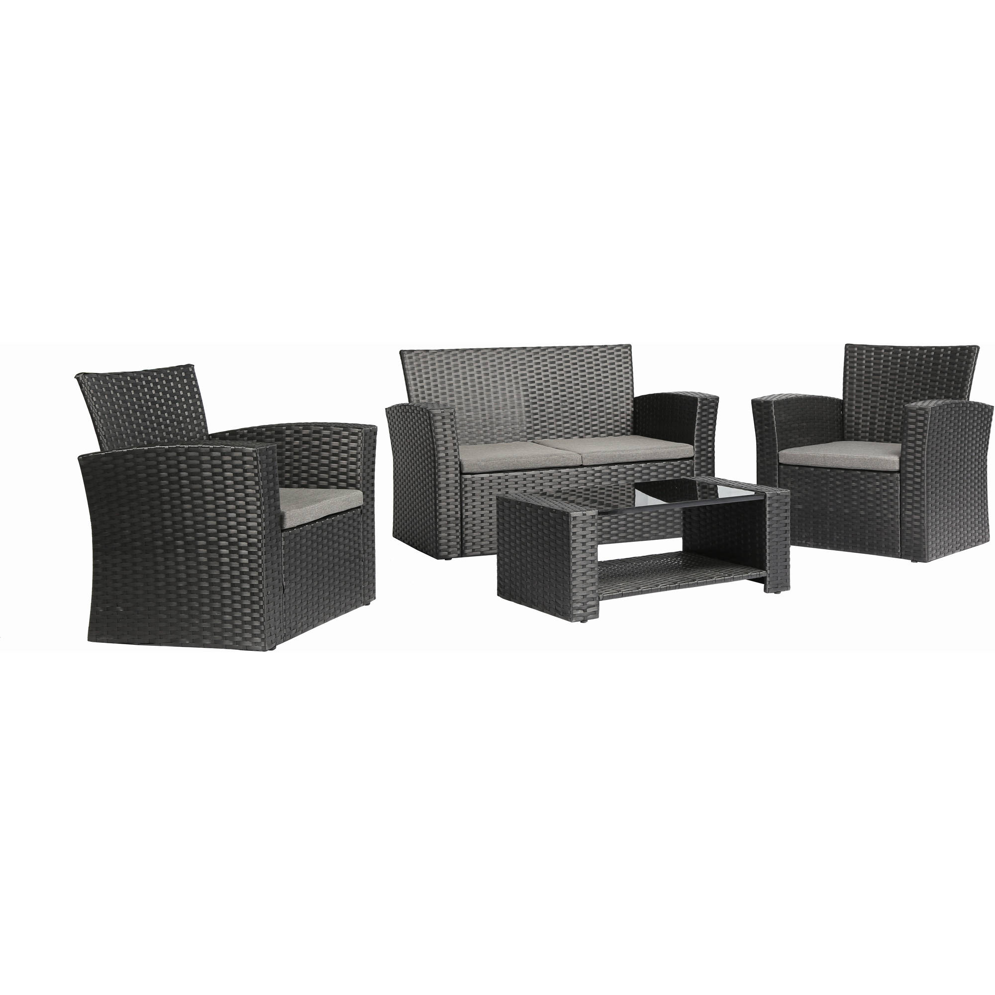 Baner Garden Outdoor Furniture Complete Patio Wicker Rattan Garden Set, Black, 4-Pieces by Caesar Hardware