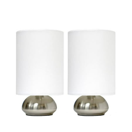 Simple Designs Gemini 2 Pack Mini Touch Lamp with Brushed Nickel Base and Ivy Fabric -