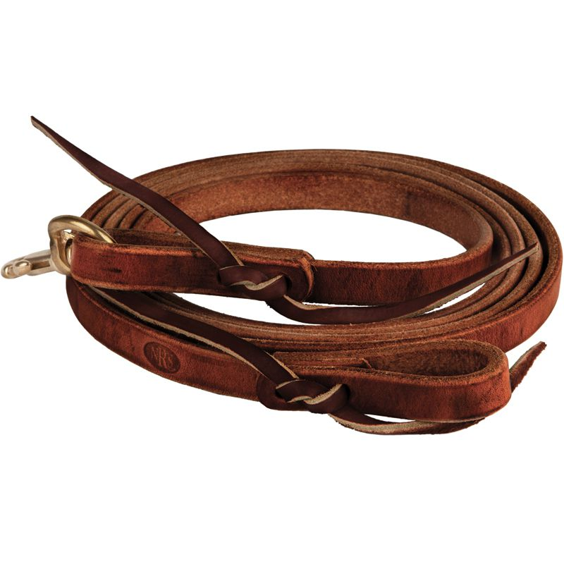 NRS  Tack 8 ft x 5/8 in Oiled Harness Leather Flat Roping Reins