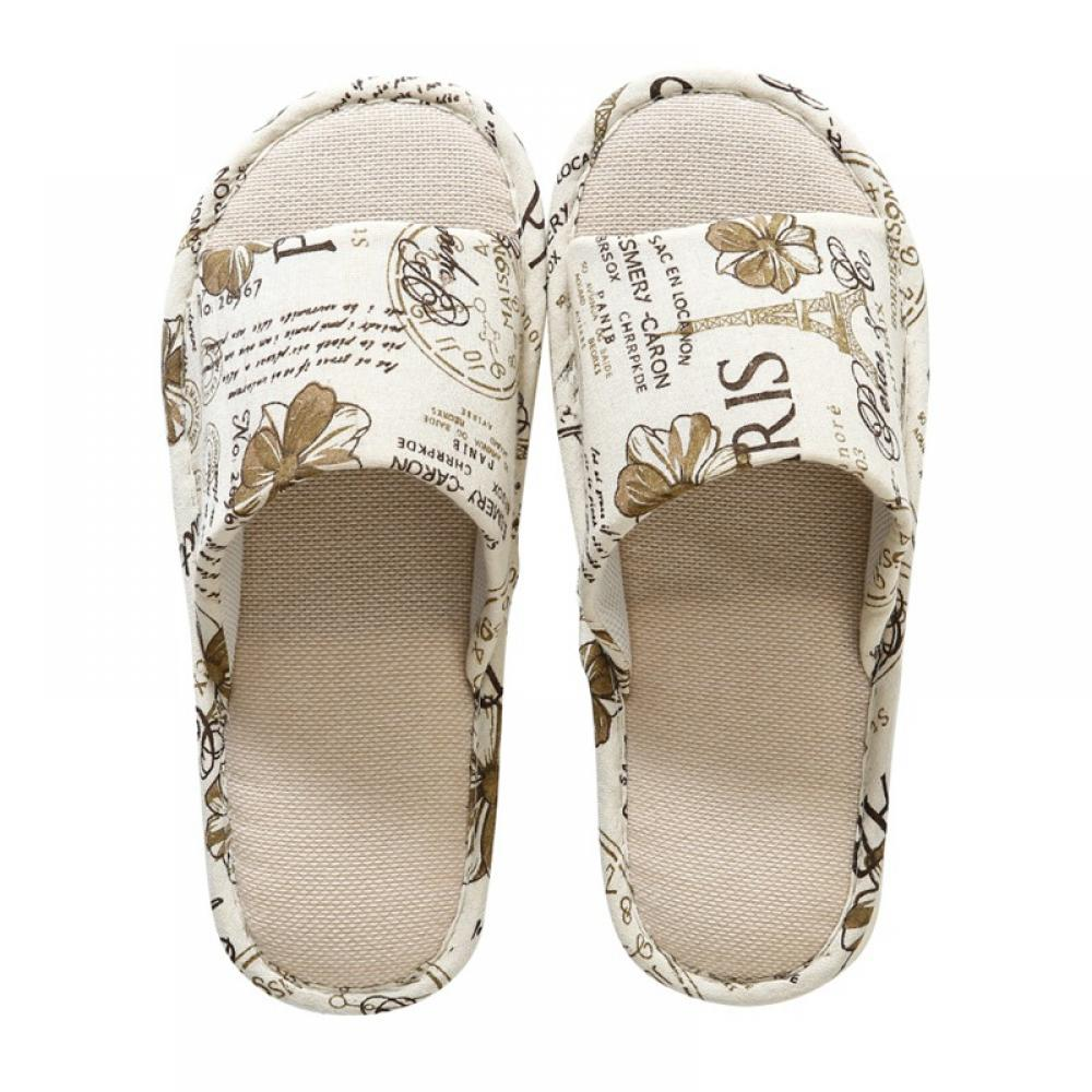 Details about  /Floral Floor Non-slip Shoes Women Unisex Home Indoor Slippers Printed Cotton