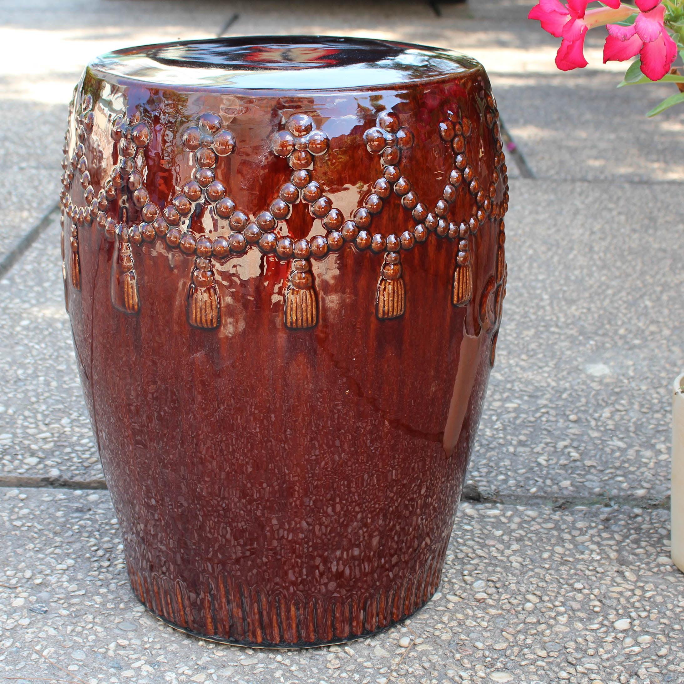 International Caravan Tasseled Drum Ceramic Garden Stool