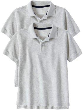 0573af0ee8d Product Image Boys Husky School Uniform Short Sleeve Double Pique Polo, 2-Pack  Value Bundle