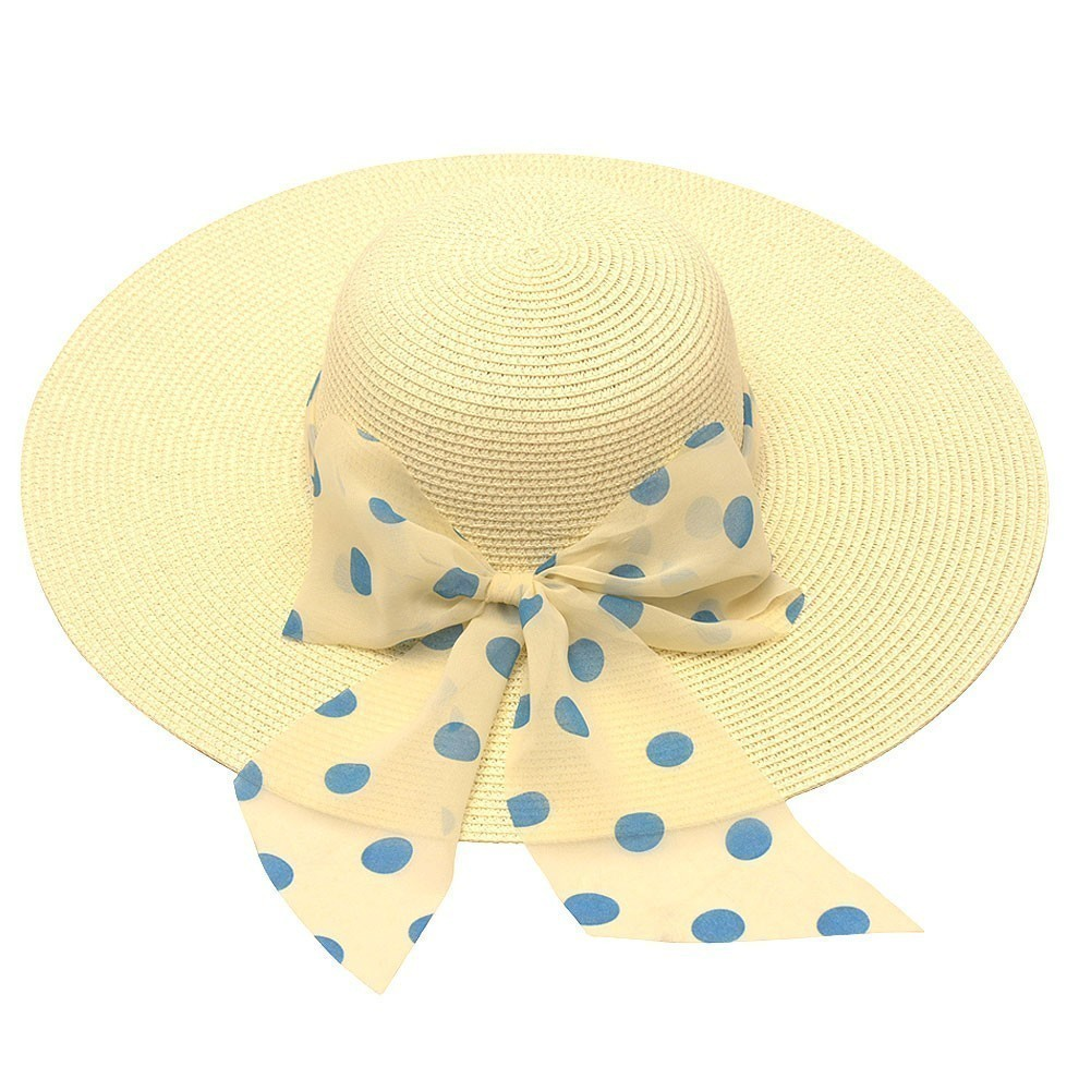 Hot Fashion womens Ivory Blue Polka Dot Bow Band Accent Wide Brim Sun Hat