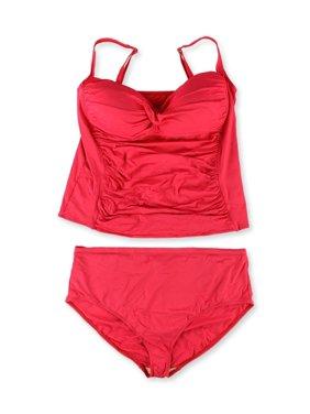 Womens Twist Front Hi Rise 2 Piece Tankini poppy 22W - Plus Size