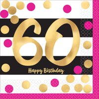 Over the Hill 'Hot Pink and Gold' 60th Birthday Small Napkins (16ct)
