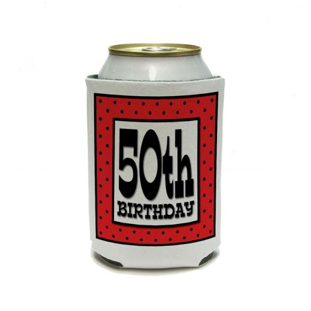 50th Fiftieth Birthday Red Black Polka Dots Can Cooler Drink Insulator Beverage Insulated Holder